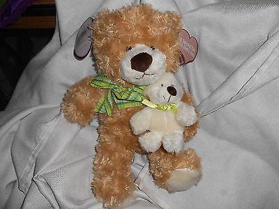 Family Christian Stores Tan Cream Rust 14 Holding Little 6 Teddy Bear Lovey