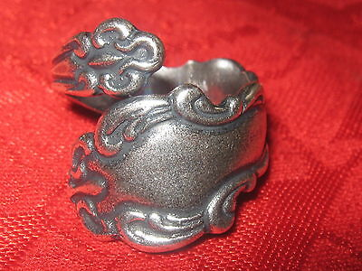 Antique Vintage Style Silver Plated Floral Spoon Ring Sizes 6-10 Adjust