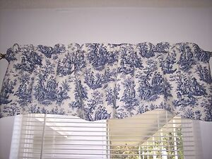 NEW*NAVY BLUE ON WHITE~WAVERLY Rustic Toile Scalloped Lined Valance CURTAINS!!!!