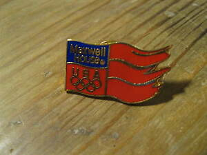 Maxwell-Coffee-USA-1988-Calgary-XV-Winter-Olympics-Game-Red-Flag-Lapel-Hat-Pin