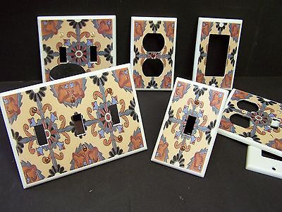 Mexican Talavera Tile Style 4 Light Switch Cover Plate Plastic Plates