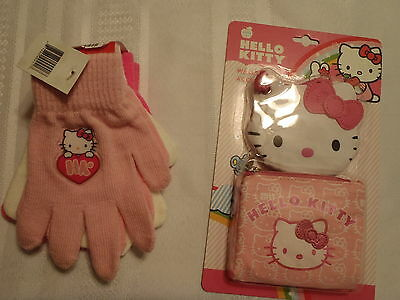 Hello Kitty 3 Pair Gloves Wallet Accessory Set Zip Coin Purse