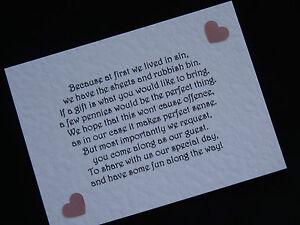 Handmade Wedding Gift Money Poems for Wedding Invitations Insert Heart Design | eBay