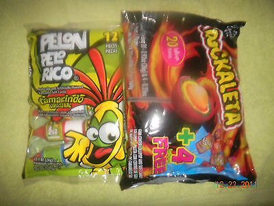 2 Pack Lorena Pelon Pelorrico Bag & Rockaleta Lollipop Bag Mexican Candy