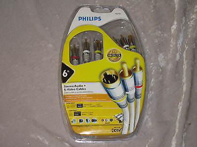 6 Ft. Philips S Video Stereo Audio Cable Cord Tv A/v Receiver 24k