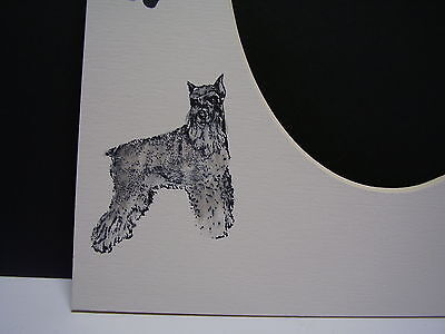Picture Frame Mats 8x10 For 5x7 Schnauzer Hand-colored Dog Mat
