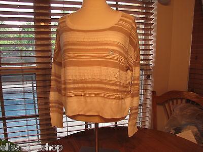 Roxy Juniors Womens M Ivory 3/4 Sleeve Top Sweater Shirt 34.5^
