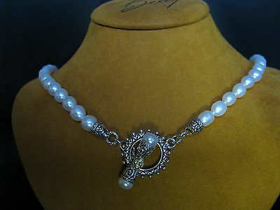 White Pearl Necklace Barbara Bixby Ss 18k Silver Gold Honora Toggle Designer