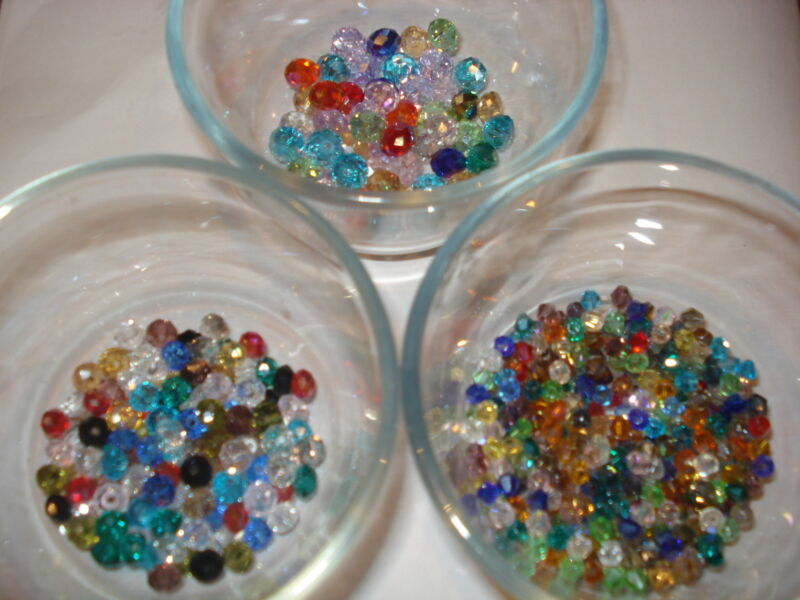 50 MIXED COLORS,SHAPES, SIZES OF FACETED SWAROVSKI CRYSTAL BEADS(USA SELLER)MC**