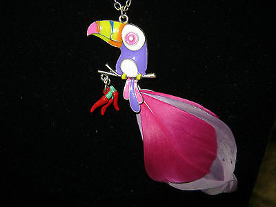Brightly Colored Toucan Bird Feather Accented Charm Necklace Fashion Jewelry