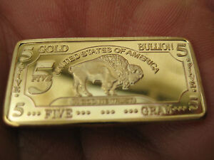 5 Gram GOLD BUFFALO BULLION BAR 100 Mills .999 24k Gold Layered NEW