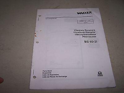 Wacker Bs 60-2i Vibratory Rammers Parts Book Manual