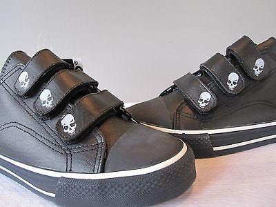 Underground England Shoe Sneakers Black Strap Skull Jolly Roger Pirate Uk5 6
