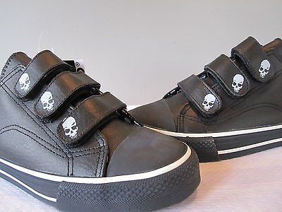 Underground England Shoes Sneakers Black Strap Skull Jolly Roger Pirate 7 M8