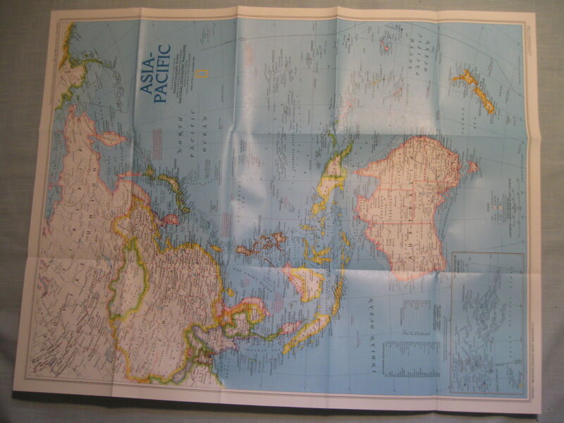 ASIA-PACIFIC MAP National Geographic November 1989 MINT