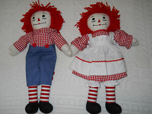 Raggedy Ann and Andy Rag Doll Set Made In Maine Handmade 15