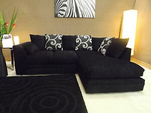 DYLAN ZINA BLACK FABRIC CORNER GROUP SOFA (RIGHT HAND)