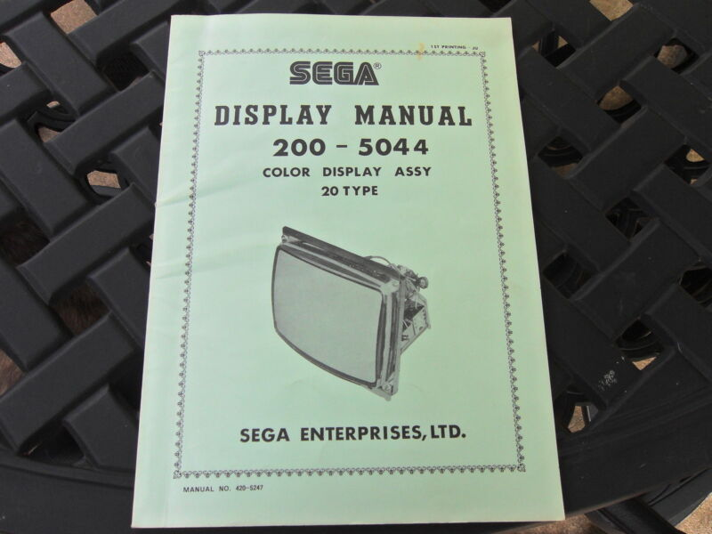 SEGA Display Manual for 200-5044 Color Display Assy 20 Type