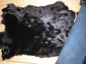 RABBIT-SKIN-GENUINE-FUR-PELT-LEATHER-HIDE-CRAFTS-DECORATION-BLACK-Large-Soft