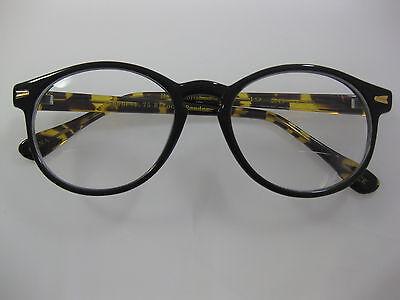 Bifocal Oliver Round Onyx Black & Amber Tortoise Hornrim Reading Glasses +2.50