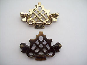 2x-ANTIQUE-BRASS-FURNITURE-DRAWER-CUPBOARD-CABINET-DOOR-LATTICE-DROP-BAR-HANDLES