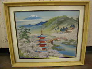 Vtg-Semi-Antique-Mid-Century-Signed-Japanese-Transfer-Painting-on-Fabric-Silk