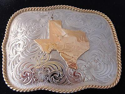 texas Map W/ Longhorn Montana Silversmiths Rectangle Belt Buckle G868 100428