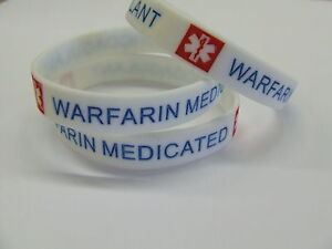 WARFARIN MEDICATED Medical Alert Wristband Silicone bracelet rubber warning NEW