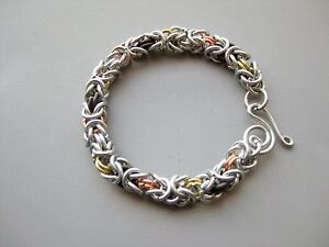 Silver-Tone-Steel-Byzantine-Brass-Copper-Chainmaille-Chainmail-Bracelet