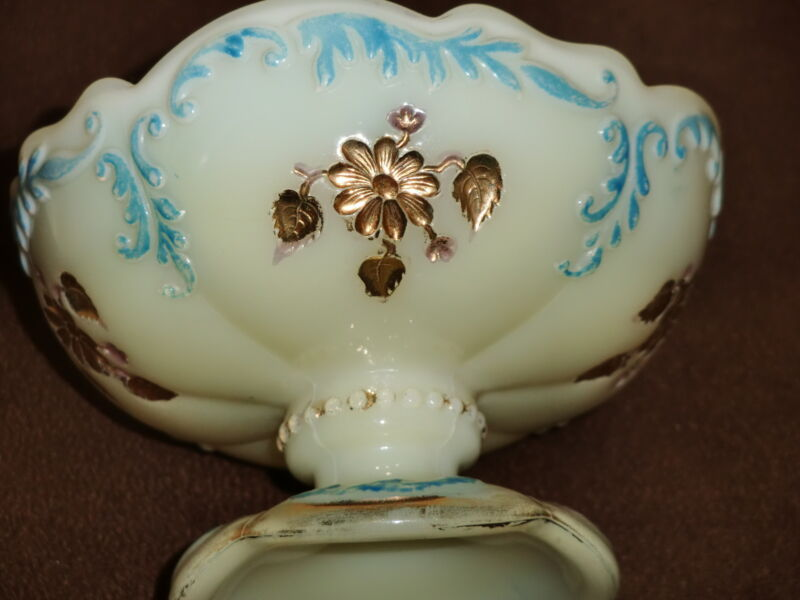 Northwood Victorian Custard Glass Intaglio Pedestal  Sherbet/Berry w/Blue & Gilt
