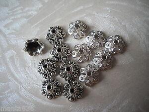 50-Gorros-De-Perlas-Metal-Antiguo-Plata-9x-5MM-Tapas-artesanal