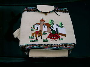 HANDMADE-FROM-PERU-WOOLEN-BOOK-BAG-BEAUTIFUL-SEWN-SCENE-16-BY-15-NICE