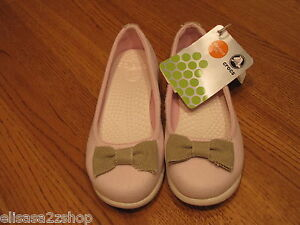 Womens-crocs-skimmer-W-4-pink-bubblegum-oyster-flat-mary-jane-shoe-bow-NEW-girls
