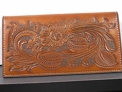 Tooled Heavy Leather Cowboy Western Checkbook Cover Wallet Billfold Checkbook