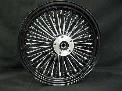 """Black & Chrome 48 King Spoke 16 x 3.5"""" Front DD Wheel for Harley & Custom Models"""