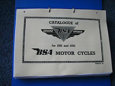BSA Parts Book 1951-2 models D1 C10 C11 M20 M21 M33 B31 B32 B33 B34 A7 A10 GStar