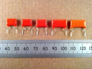 Qty-5-Metallised-Polyester-368-Capacitor-10-400V-Orange-Drop-Poly-Film-Caps
