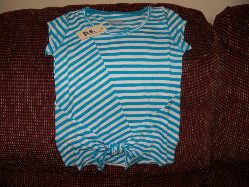 P.S. Aeropostale Blue & White Striped Shirt Size 4 Girls NEW