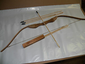 NEW-WOODEN-BOW-WITH-6-ARROWS-AND-QUIVER-Kids-Wood-Archery-Bow-for-Hunting