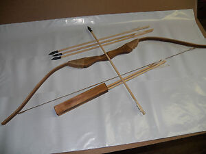 NEW WOODEN BOW WITH 6 ARROWS AND QUIVER--Kids Wood Archery Bow for Hunting (TOY)