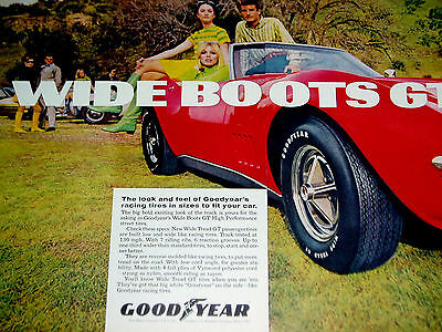 1968-69 CHEVY CORVETTE/GOODYEAR TIRE WIDE BOOTS GT PRINT AD-poster/sign-red/1970