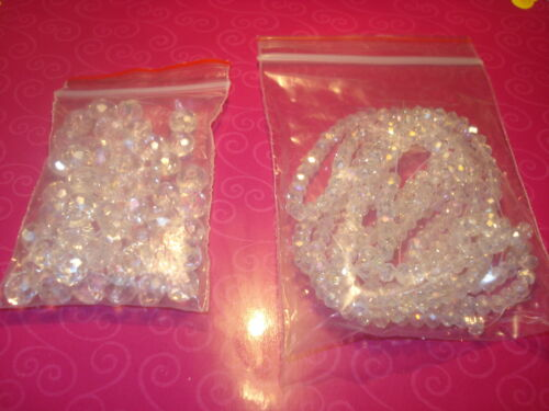 75 MIXED SIZES CLEAR AB RONDELLE SWAROVSKI CRYSTAL BEADS 4&6&8MM(USA SELLER)C*D7