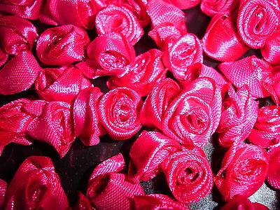 kleine Satinrosen pink 10 Stück