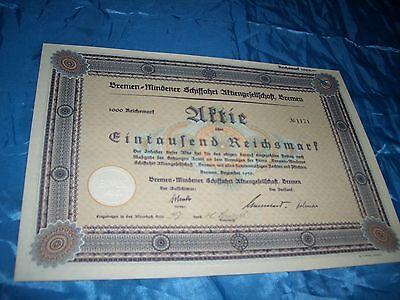 histor. Wertpapier / dt. Aktie / Bremen-Mindener Schiffahrt AG / 1000 RM / 1939