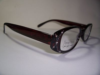 1.25 Reading Glasses Brown 125 Full Magnification Spring Hinge Rhinestones