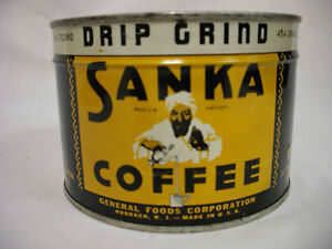 VINTAGE NEW OLD STOCK 1LB SANKA COFFEE TIN WITH KEY FULL NEVER OPENED