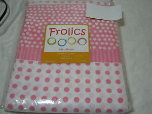 Kids collection pink white fabric shower curtain pink polka dots 72x72