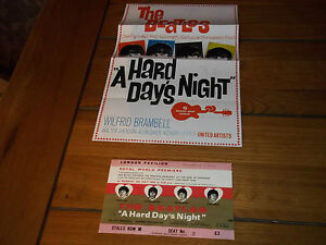 BEATLES-HARD-DAYS-NIGHT-COLOURED-POSTER-AND-MOVIE-PREMIERE-TICKET
