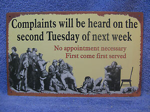 Complaints-Heard-Tuesday-Metal-Sign-Decor-Funny-Office