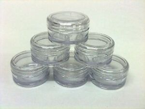 48 x 5ml Empty clear jar/cosmetic/lip balm pot/craft/glitter/beads/lotions
